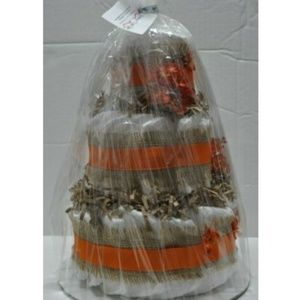 Handmade Party Supplies - Fall Theme Diaper Cake for Baby Shower with Burlap